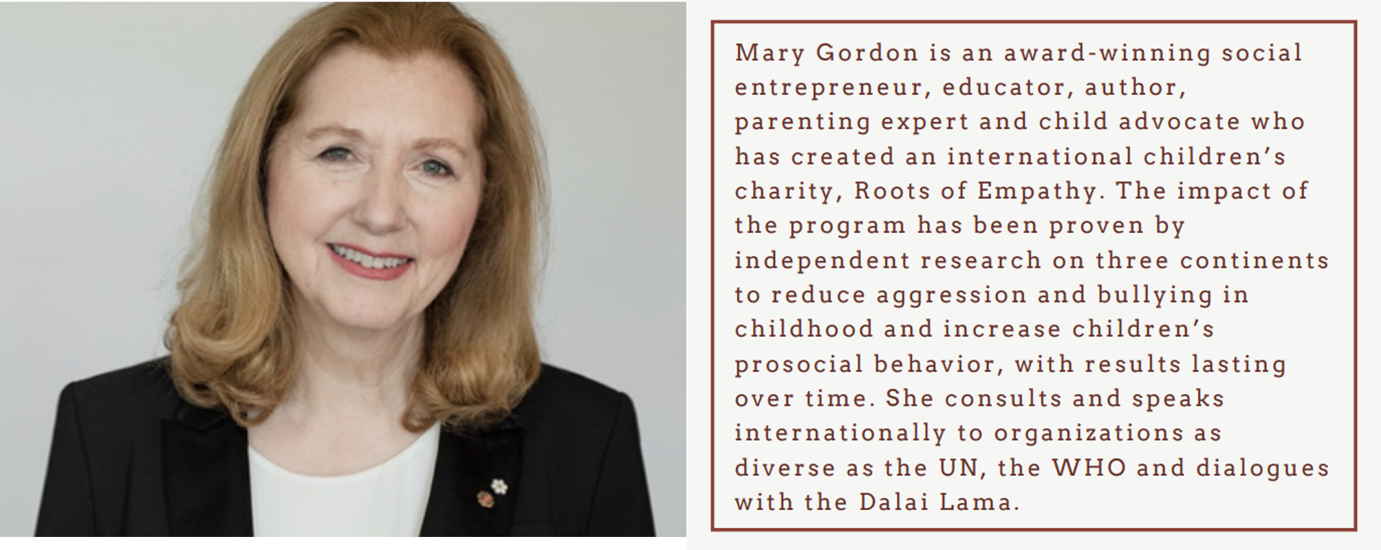 Mary Gordon, description text guest