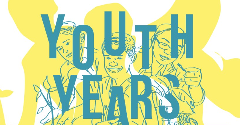 "Illustration of young Filipinos with the text ""Youth Years"""