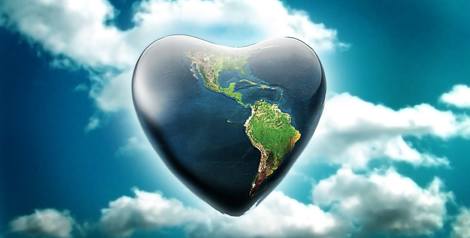 Heart Shaped Planet Earth render in front of clouds