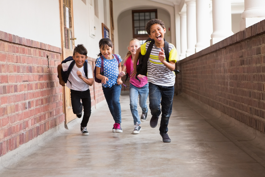 Kids running in hall