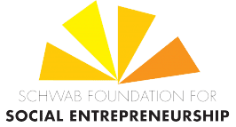 Schwab Foundation Logo. Four acute triangles in yellow gold and orange converging into one point, like a fractured sun. Words beneath: Schwab Foundation for Social Entrepreneurship