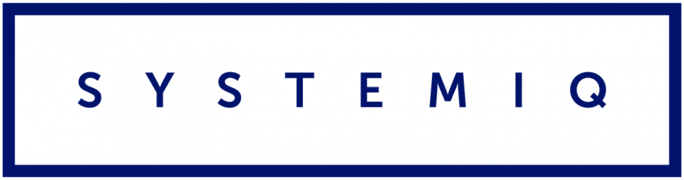 SystemIQ Logo. Blue box with clear filling around capital letters SYSTEMIQ in blue writing.