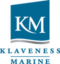 Logo saying 'KM' in white lettering with a dark blue background and a wavy lower edge. Letters below the logo say: Klaveness Marine