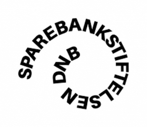 Words SpareBank Stiftelsen DNB wrapped in a spiral; all black lettering