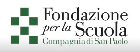 Logo for Fundazione per la Scuola; six green squares to the left organized in a bow structure; text of Fondazione per la Scuola to the right
