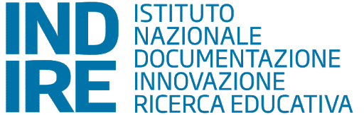 "Logo for INDIRE, Partner of Ashoka Italy. Giant bold blue letters to the left saying ""INDIRE"". Smaller unbolded words to the right saying ""Istituto Nazionale Documentazione Innovazione Ricerca Educativa"