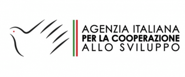 Logo for AICS, Partner of Ashoka Italy. to the left, a dove in black; next to it to the right are three thin vertical lines, green then white then red. to the right of the lines are the words: Agenzia Italiana per la Cooperazione Allo Sviluppo
