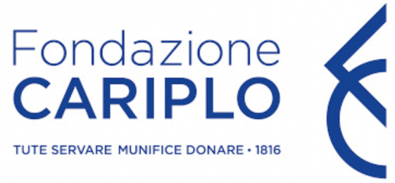 "Logo of Fondazione Cariplo; Large letters in dark blue saying ""Fondazione Cariplo""; diamond and a circle to the right in dark blue"