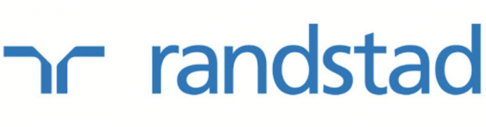 Logo for Ranstand, partner of Ashoka Italy. To the left, a figure in dark blue that has a backwards r next to a regular r. to the right, the word randstad in dark blue lowercase