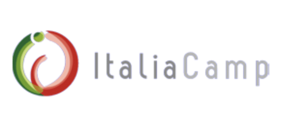 Logo of ItaliaCamp, Logo of a circle, half green half red to the left. Words ItaliaCamp to the right