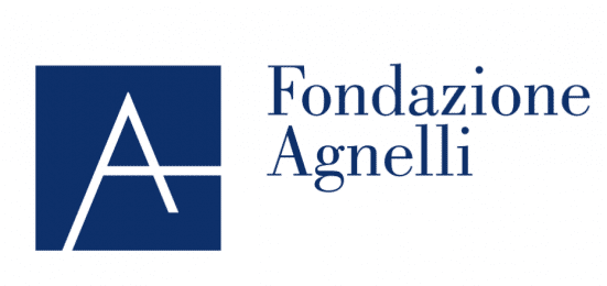 Logo for Fondazione Agnelli; to the left, Giant letter A in white inside of a blue square block; the Words Fondazione Agnelli off to the right