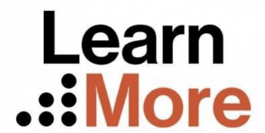 Logo for Learn More, partner of Ashoka Italy. To the left, Six dots lined up in a staircase going up to the right, all in black. Word Learn in black at the top of it. Word More next to the staircase in burnt orange.