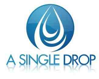 blue droplet logo with a single drop caption