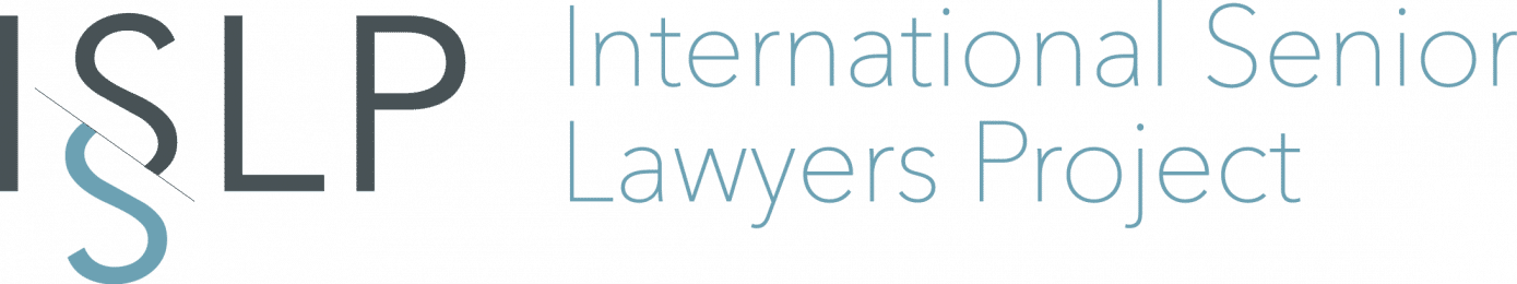 Logo for the International Senior Lawyers Project; big letters ISLP to the left, words International Senior Lawyers Project to the right in light blue