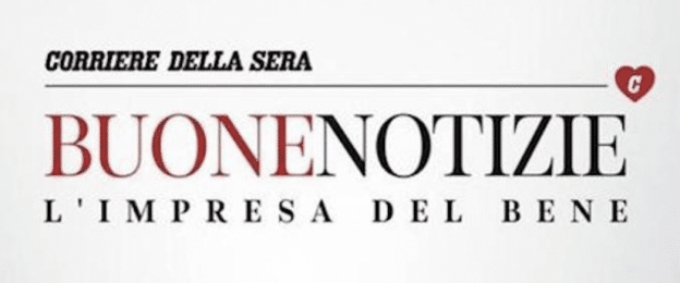 Corriere Della Sera in bold and italics on top. Below, Buone in capital red letters next to Notizie in capital black letters. Below in smaller black letters: L'impresa del Bene