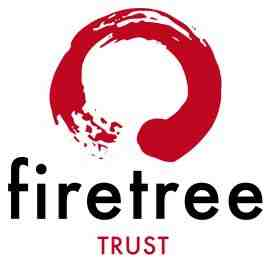 Red circle that seems like a paintbrush stroke above black text 'firetree' all lower case letters; below firetree text is 'TRUST' in red, all upper case letters