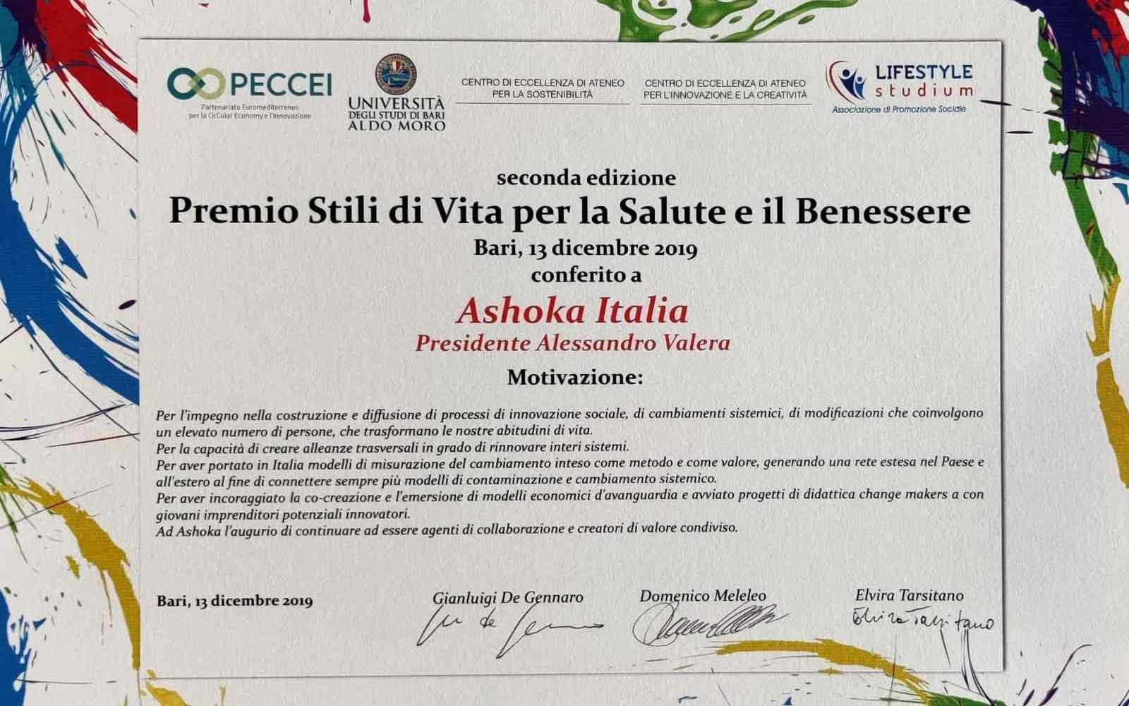 Ashoka Italia Vince Il Premio Stili Di Vita Per La Salute E Il Benessere Ashoka Everyone A Changemaker