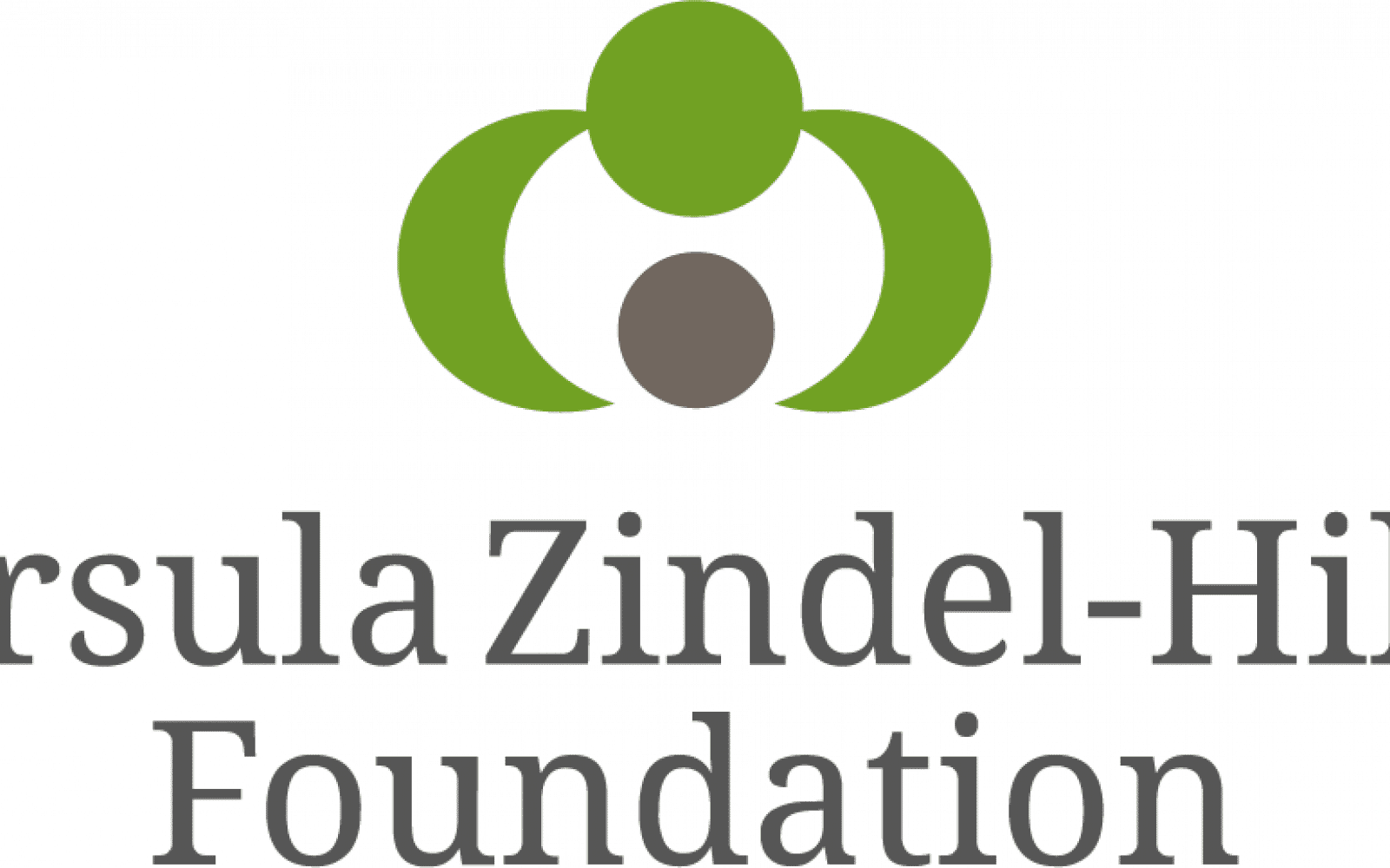 "Logo for the Ursula Zindel-Hilti Foundation. One green circle with two half moons also in green coming from both sides downward into space, that leads to another circle that is in grey. Below the words ""Ursula Zindel-Hilti Foundation"" outlined in grey."