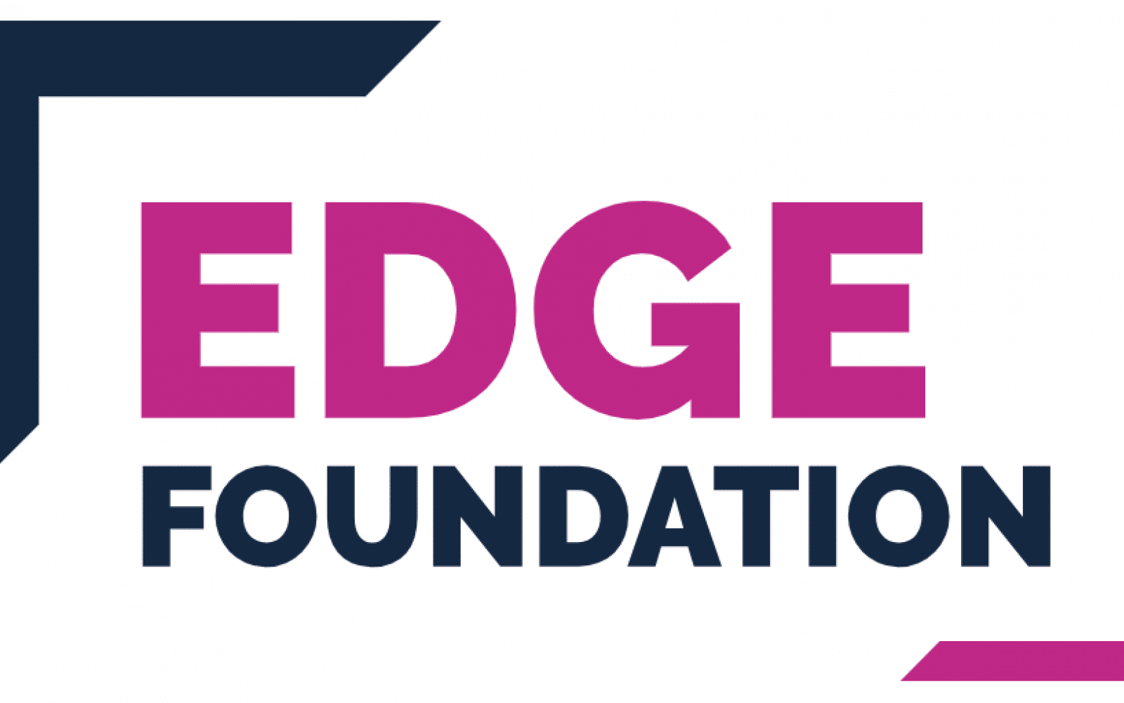 "Logo for Edge Foundation, Partner of Ashoka UK & Ireland; 'Edge' in capitalized magenta letters with the words 'foundation' underneath in smaller capitalized Black letters. Upper left corner diagonal to the word ""Edge"" in Black and large; lower right corner diagonal from the end of the word Foundation in magenta"