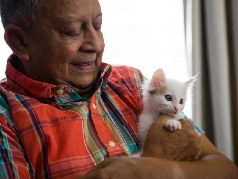 Older man holding a cat
