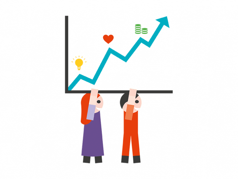 icon of two people carrying an influence graph over their heads