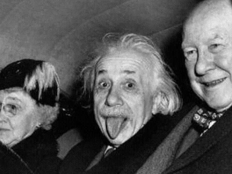 Albert Einstein showing tongue