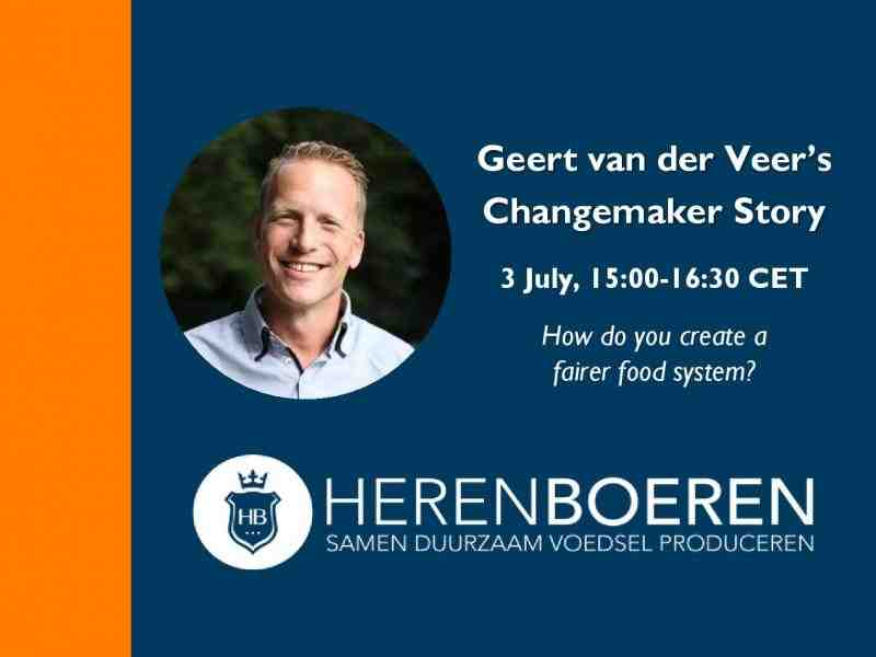 Flyer for Geert van der Veer's Changemaker Story