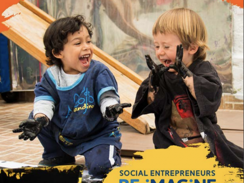 "Cover for the Re-Imagine Learning Report by the Lego Foundation and Ashoka. Photo of two young kids smiling with mouths open wide; Ashoka and Lego Foundation logos at the top. ""Social Entrepreneurs Re-Imagine Learning"" in lettering in the lower right hand corner"
