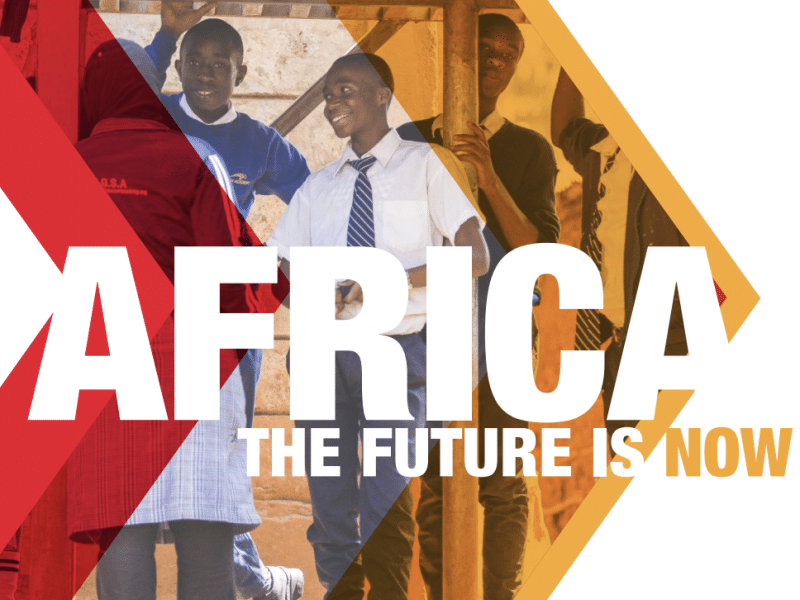 Cover of the report named Africa the Future is Now. Three triangles in an arrow going from left to right across the page. Photo of students in the background smiling. Logos for Mastercard and Ashoka in the lower right hand corner