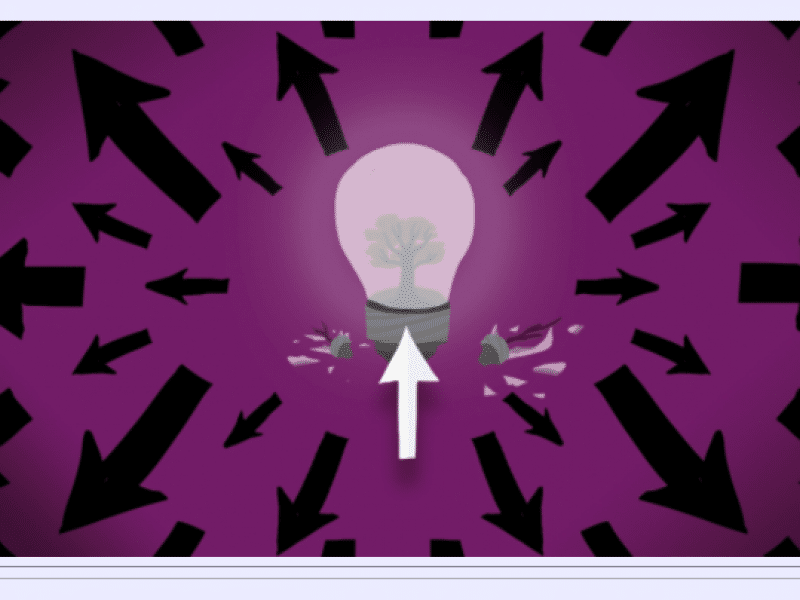 Illustration of light bulb with arrows going outwards