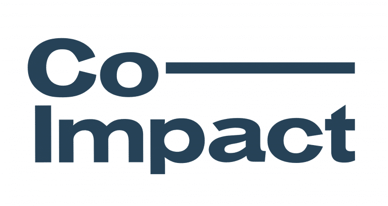 Co-Impact Logo. Co with a long dash on first line, Impact on second line. Writing in Dark Blue