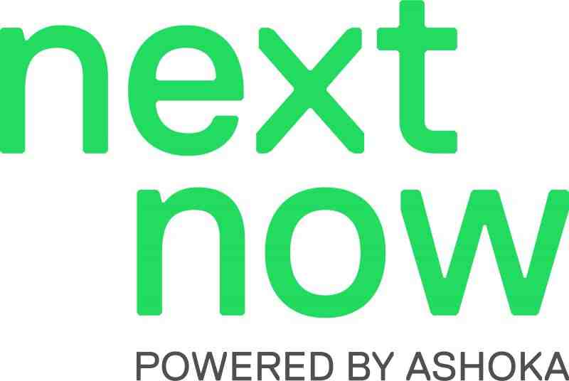 text: next now powered by Ashoka