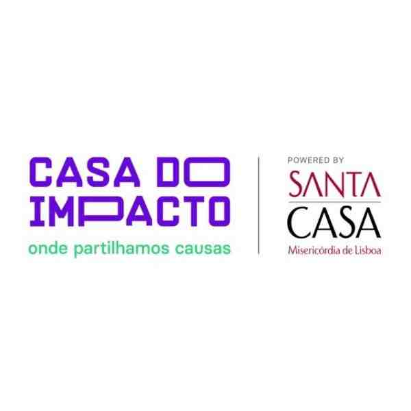 "Casa do Impacto Logo, partner of Ashoka Portulage. Large purple letters to the left saying ""Casa do Impacto"" over smaller green text that says ""onde partilhamos causas"""