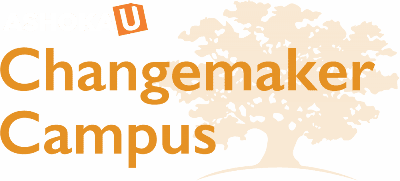 Logo of Ashoka U Changemaker Campus. Blue letter in bold at top saying Ashoka, U is outlined in white with an orange background. Underneath Ashoka U are the words Changemaker Campus in bold and Orange. To the right is a light orange tree.