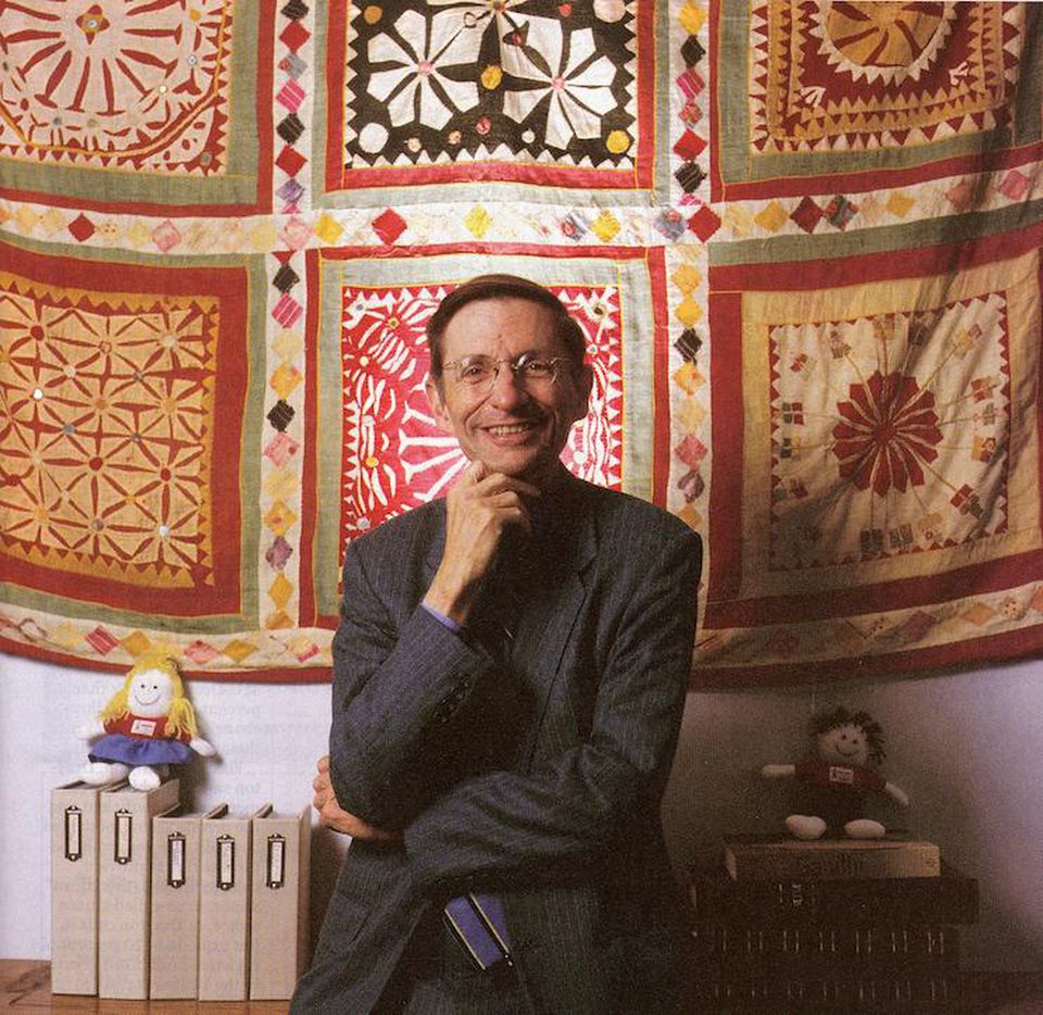Bill Drayton in front of India textile